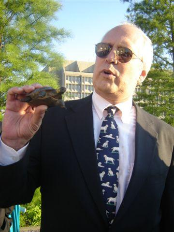 Photo of Chevy Chase with bog turtle replica.