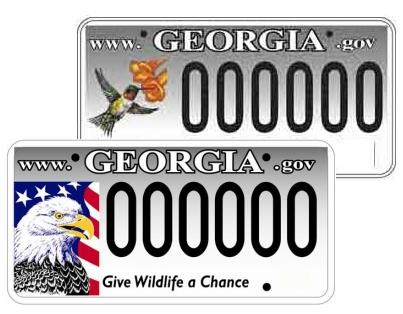 Photograph of nongame wildlife license plates.