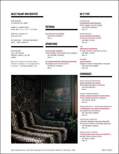 OVNI Magazine no 02, sommaire, p. 1