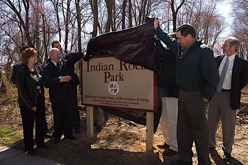 Unveiling of the sign for Indian Rock Park.